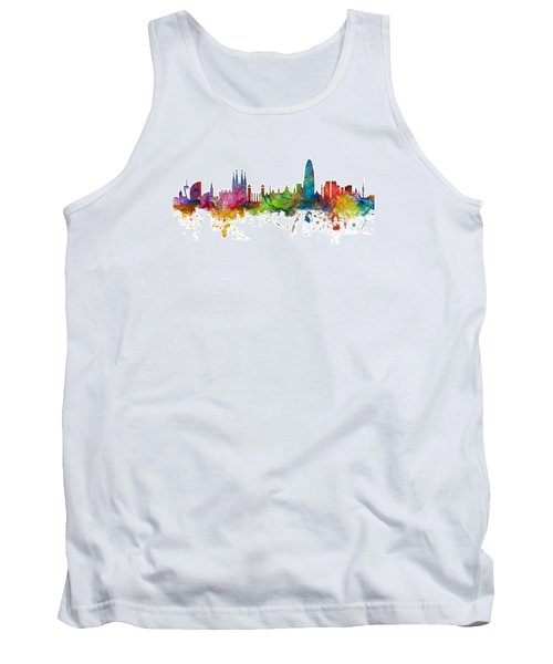 Barcelona Spain Skyline Panoramic Tank Top