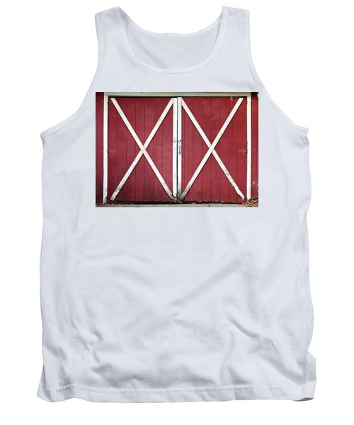 Tank Top featuring the photograph Red Barn Doors by Sheila Brown