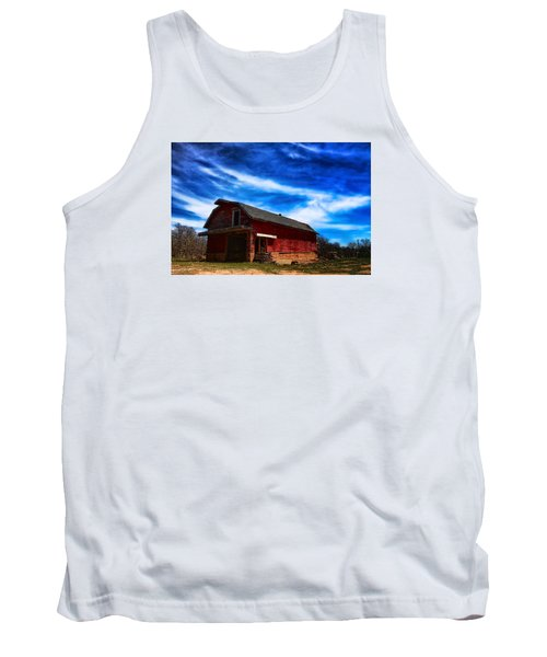 Tank Top featuring the photograph Barn Under Blue Sky by Toni Hopper