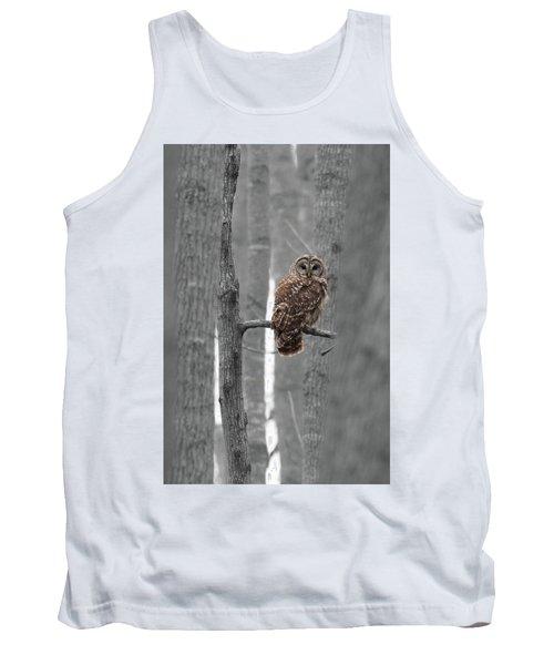 Barred Owl In Winter Woods #1 Tank Top