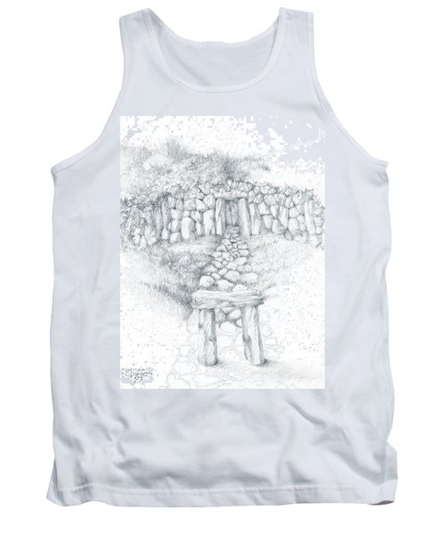 Tank Top featuring the drawing Barrow Tomb by Curtiss Shaffer