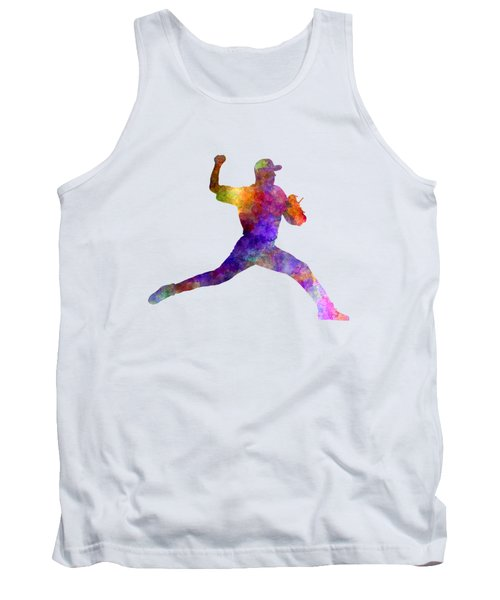 Baseball Player Throwing A Ball 01 Tank Top by Pablo Romero