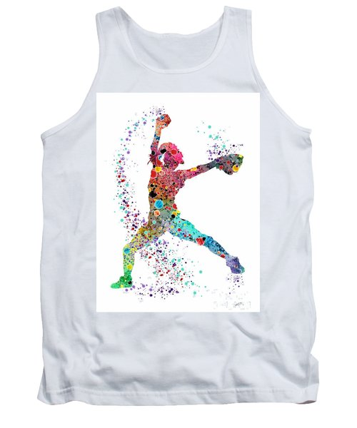 Baseball Softball Pitcher Watercolor Print Tank Top by Svetla Tancheva