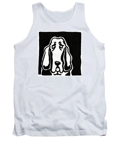 Tank Top featuring the drawing Basset Hound Ink Sketch by Leanne WILKES