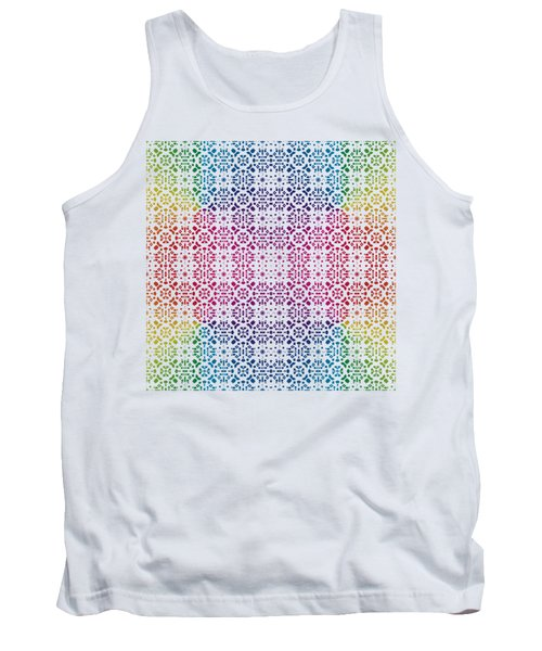 Batik Rainbow 100 - White Tank Top