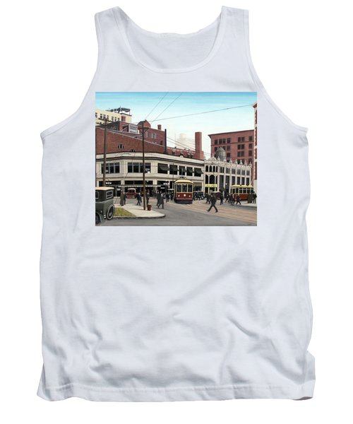 Tank Top featuring the painting Bay And Queen Streets C1940 by Kenneth M Kirsch