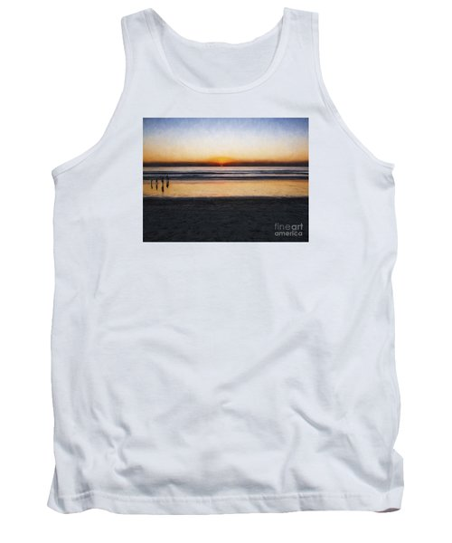 Tank Top featuring the photograph Beach Family  ... by Chuck Caramella