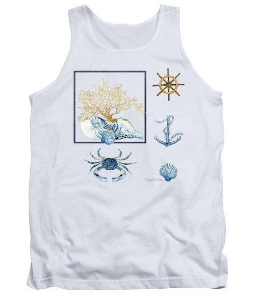 Beach House Nautical Seashells Ships Wheel Anchor N Crab Tank Top