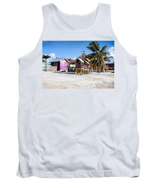 Beach Huts Tank Top by Lawrence Burry