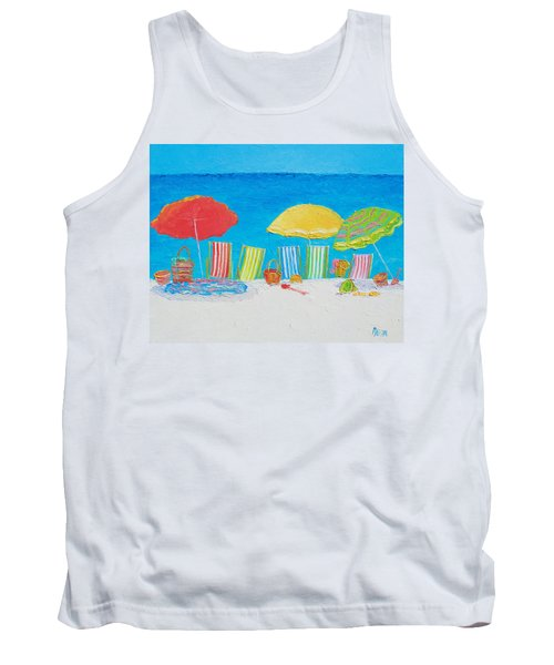 Beach Painting - Deck Chairs Tank Top