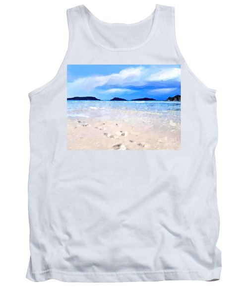 Tank Top featuring the digital art Beach Walk by Anthony Fishburne