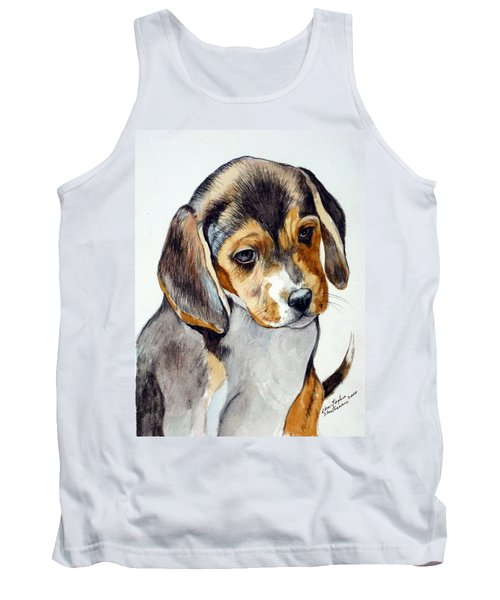 Tank Top featuring the painting Beagle Puppy by Christopher Shellhammer