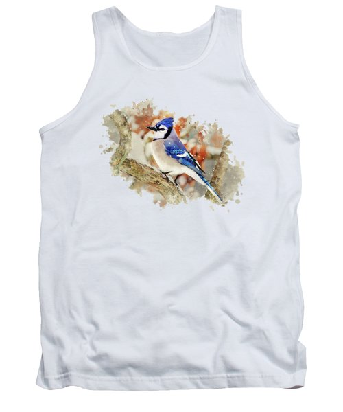 Beautiful Blue Jay - Watercolor Art Tank Top by Christina Rollo