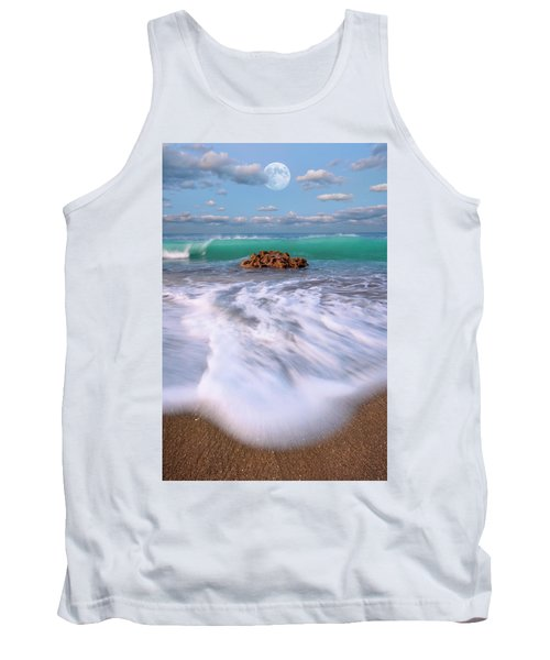 Tank Top featuring the photograph Beautiful Waves Under Full Moon At Coral Cove Beach In Jupiter, Florida by Justin Kelefas