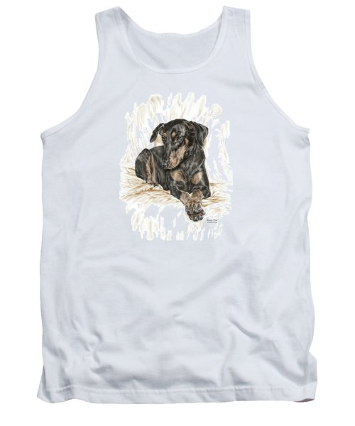 Tank Top featuring the drawing Beauty Pose - Doberman Pinscher Dog With Natural Ears by Kelli Swan