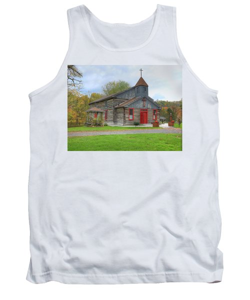 Tank Top featuring the digital art Bedford Village Church by Sharon Batdorf