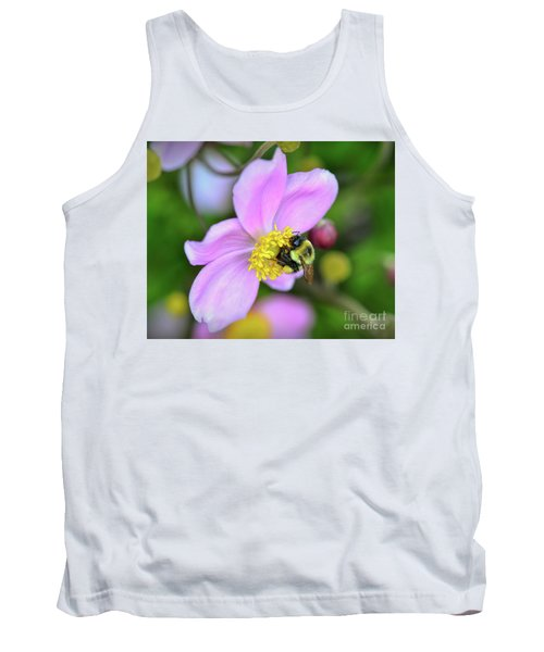 Tank Top featuring the photograph Bee And Japanese Anemone by Kerri Farley
