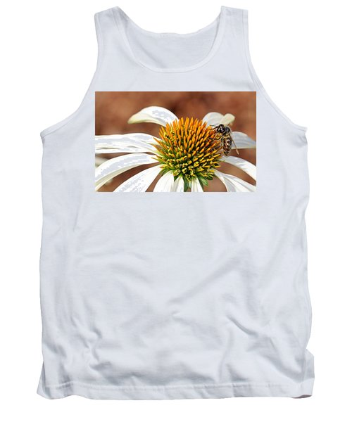 Tank Top featuring the photograph Bee In The Echinacea  by AJ Schibig
