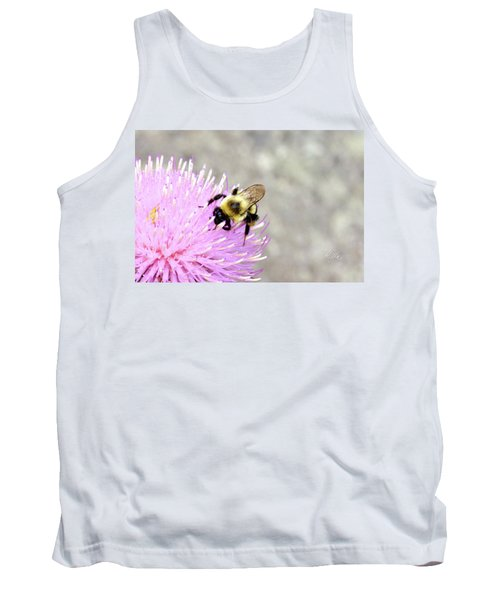 Tank Top featuring the photograph Bee On Pink Bull Thistle by Meta Gatschenberger