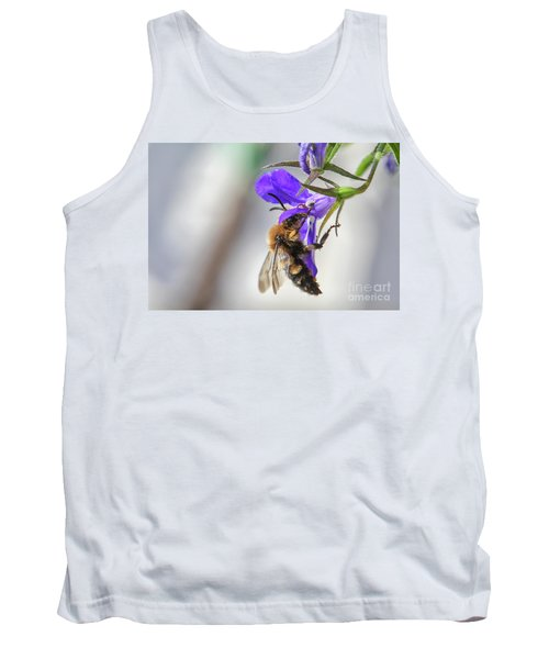 Bee On Purple Flower Tank Top