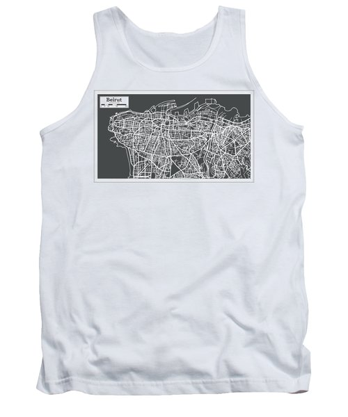 Beirut Lebanon City Map In Retro Style. Tank Top