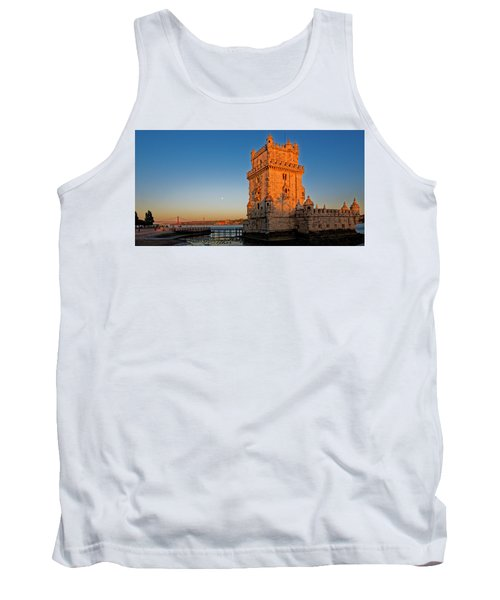 Belem Tower And The Moon Tank Top