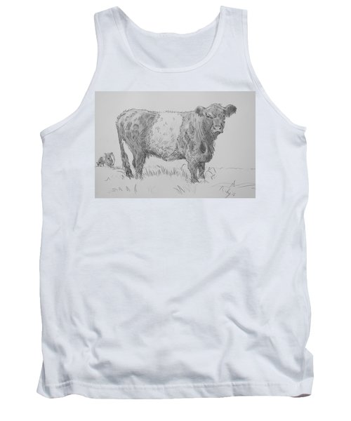 Belted Galloway Cow Pencil Drawing Tank Top