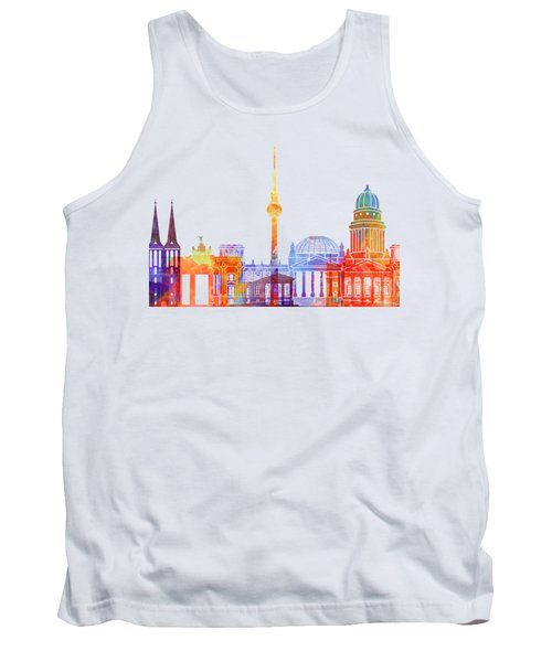 Berlin Landmarks Watercolor Poster Tank Top by Pablo Romero