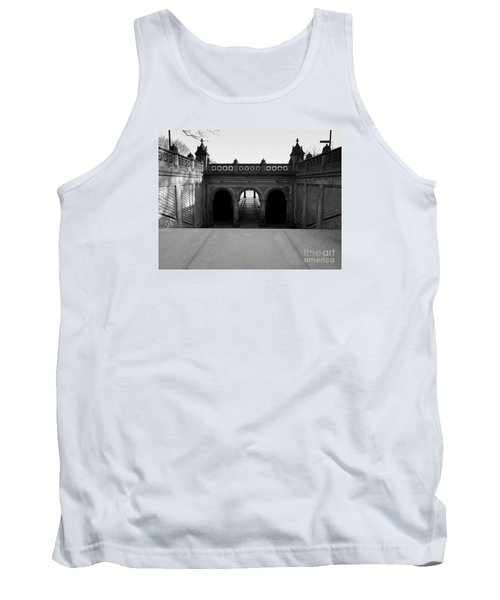 Bethesda Terrace In Central Park - Bw Tank Top by James Aiken