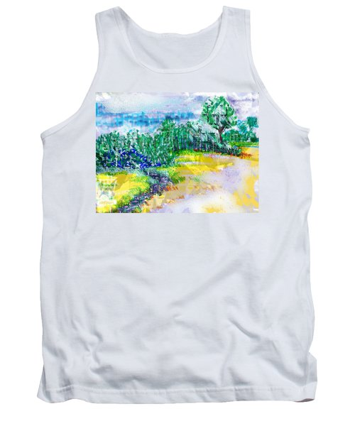 Tank Top featuring the drawing Beyond The Clouds by Seth Weaver