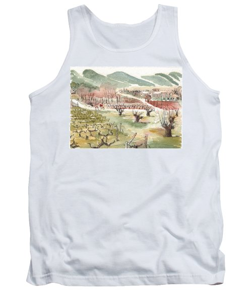 Tank Top featuring the painting Bicycling Through Vineyards by Tilly Strauss
