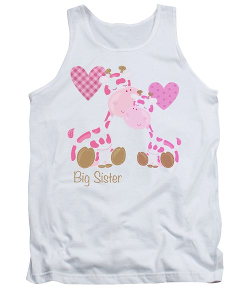 Big Sister Cute Baby Giraffes And Hearts Tank Top by Tina Lavoie