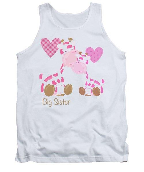 Big Sister Cute Baby Giraffes And Hearts Tank Top