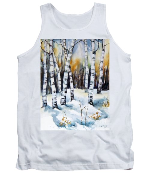 The White Of Winter Birch Tank Top by Inese Poga