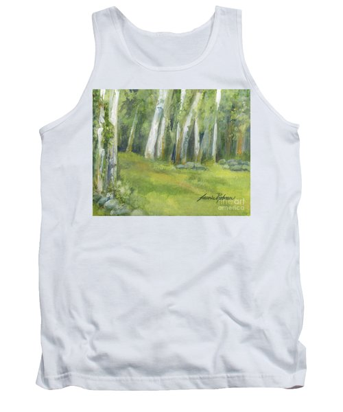 Birch Trees And Spring Field Tank Top