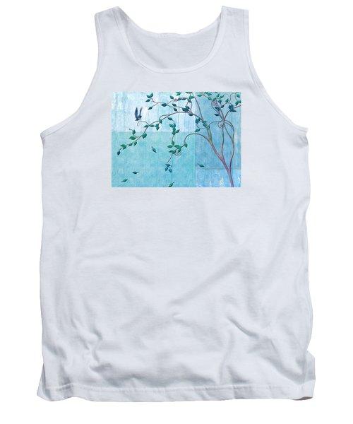 Tank Top featuring the digital art Bird In A Tree-2 by Nina Bradica