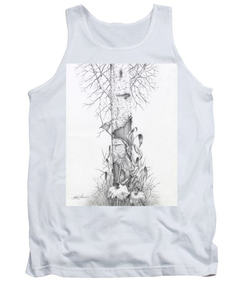 Bird In Birch Tree Tank Top