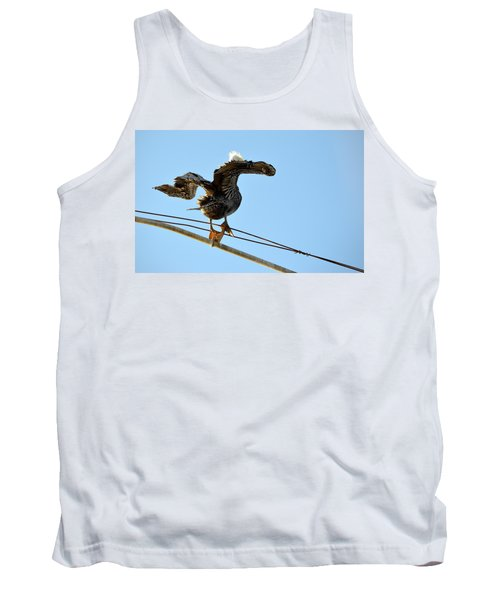 Tank Top featuring the photograph Bird On The Wire by AJ Schibig