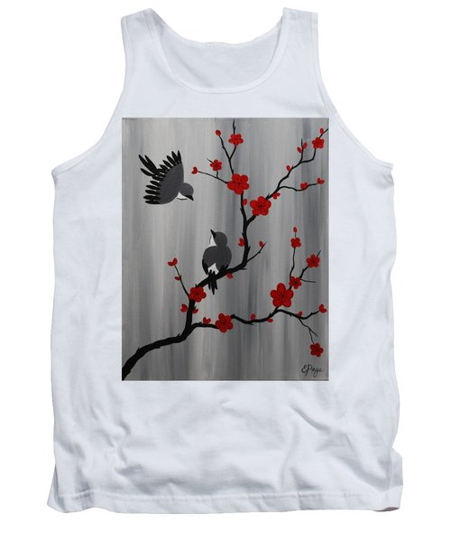 Birds And Blooms In Red Tank Top