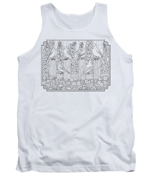 Birds In Flower Garden Coloring Page Tank Top by Crista Forest