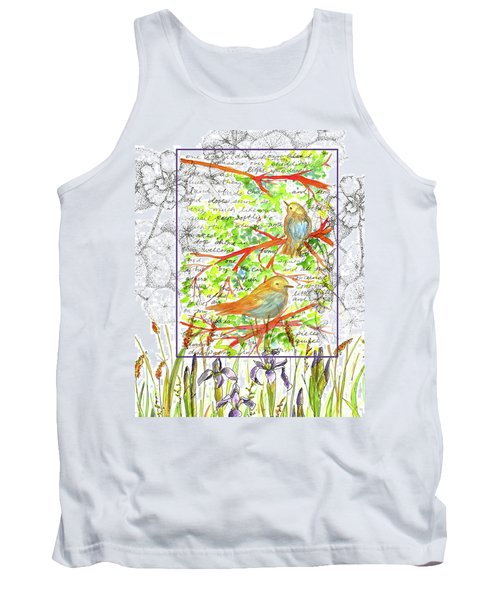 Tank Top featuring the painting Bluebirds Nature Collage by Cathie Richardson