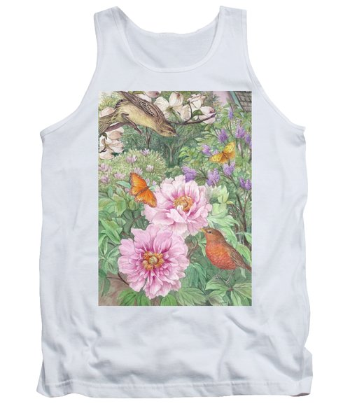 Tank Top featuring the painting Birds Peony Garden Illustration by Judith Cheng