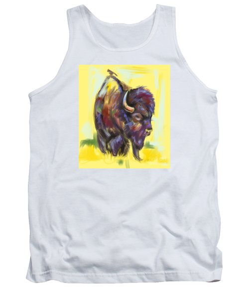 Tank Top featuring the painting Bison And Bird by Go Van Kampen