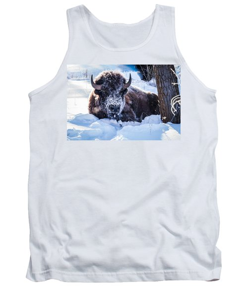 Tank Top featuring the photograph Bison At Frozen Dawn by Yeates Photography