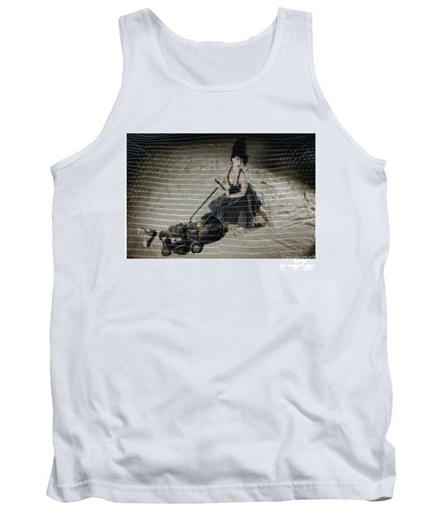 Bizarre Girl With Lawn Mower On Beach Tank Top