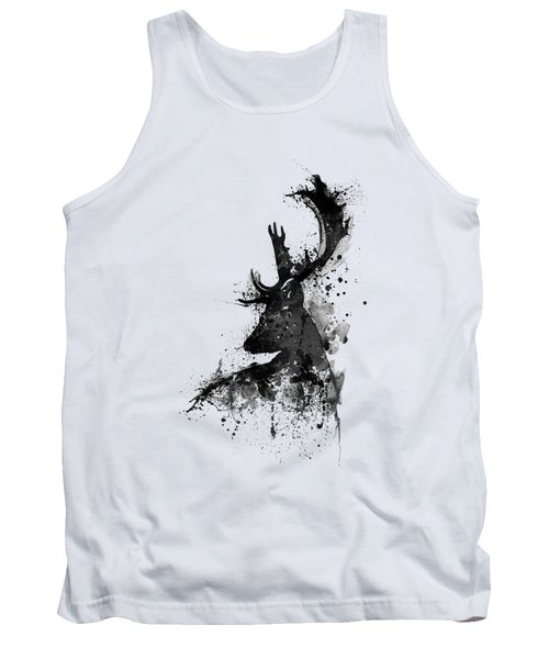 Black And White Deer Head Watercolor Silhouette Tank Top