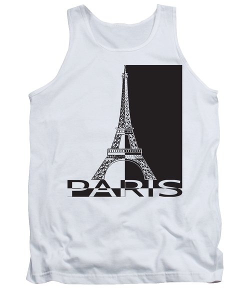 Black And White Eiffel Tower Tank Top by Yurii Perepadia