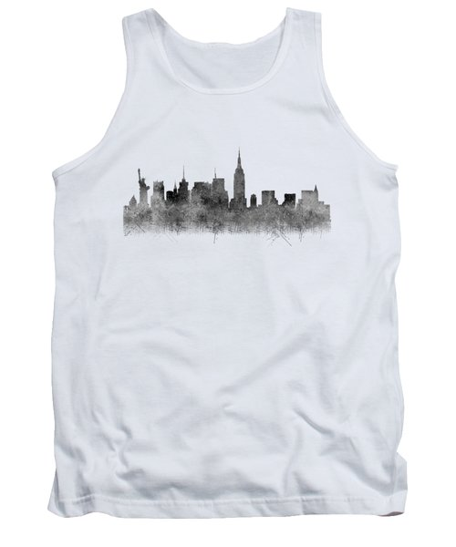 Tank Top featuring the digital art Black And White New York Skylines Splashes And Reflections by Georgeta Blanaru