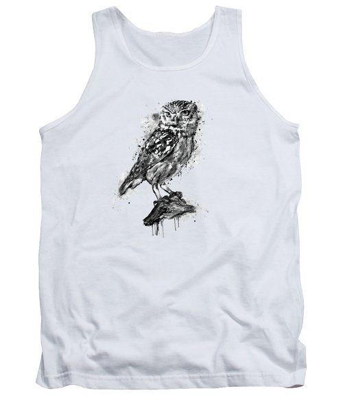 Tank Top featuring the mixed media Black And White Owl by Marian Voicu