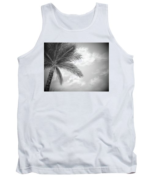 Tank Top featuring the digital art Black And White Palm by Darren Cannell